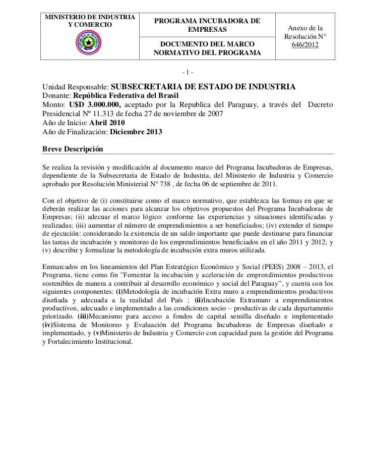 MINISTERIO DE INDUSTRIA      Y COMERCIO                                      PROGRAMA INCUBADORA DE                       ...