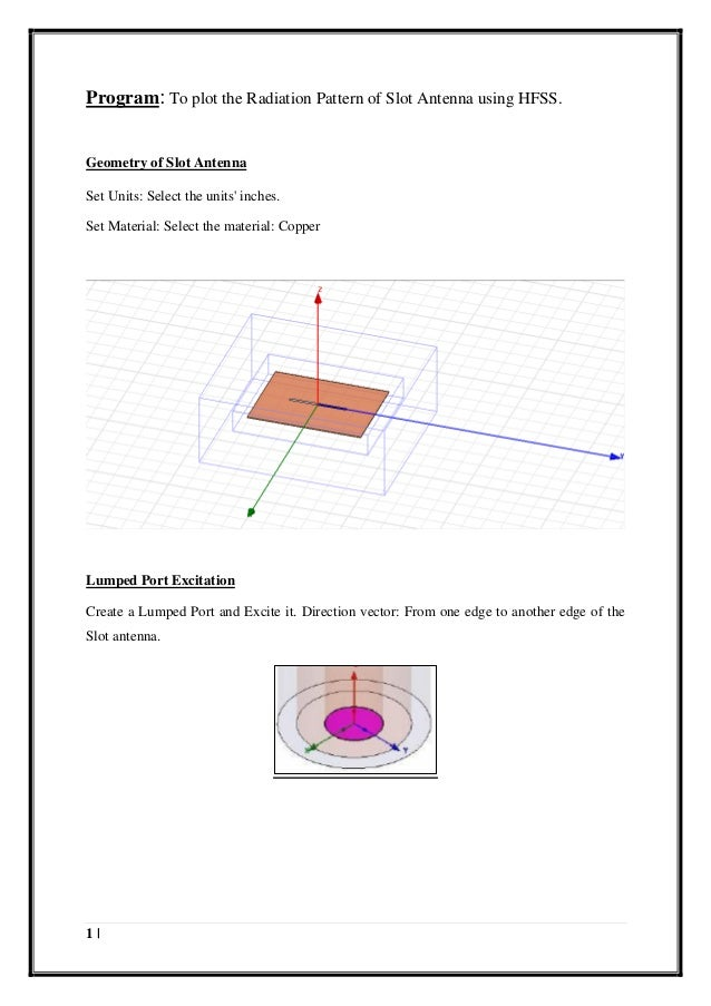 Design step for making slot antenna in HFSS