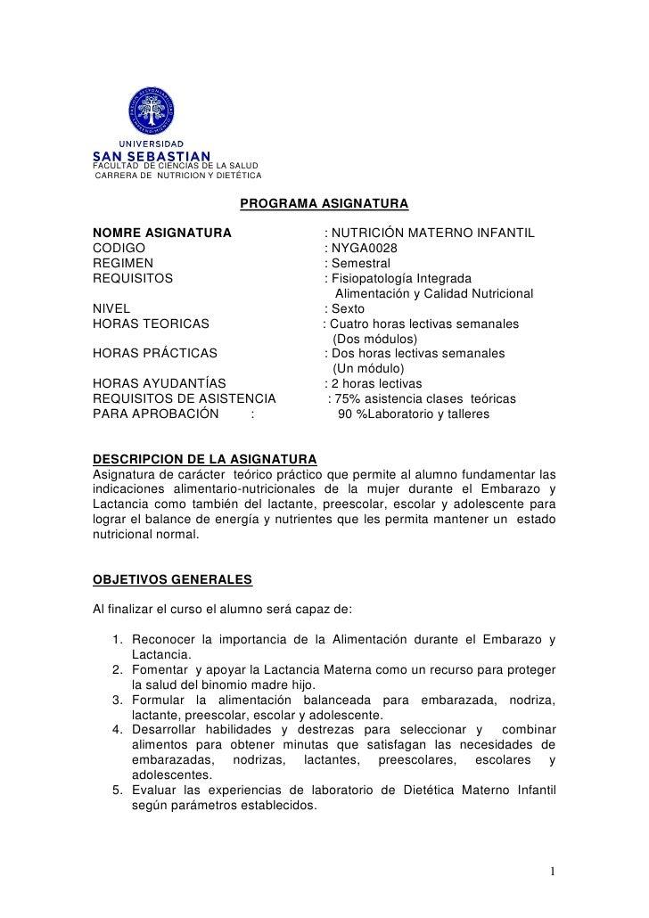 FACULTAD DE CIENCIAS DE LA SALUD CARRERA DE NUTRICION Y DIETÉTICA                              PROGRAMA ASIGNATURA  NOMRE ...
