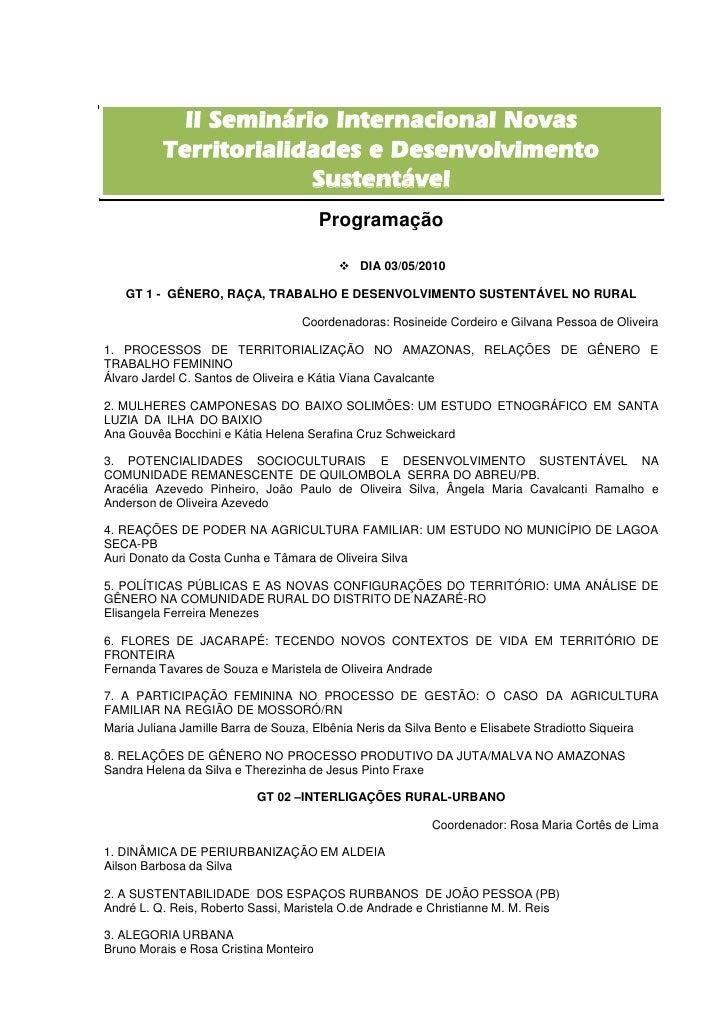 II Seminário Internacional Novas          Territorialidades e Desenvolvimento                       Sustentável           ...