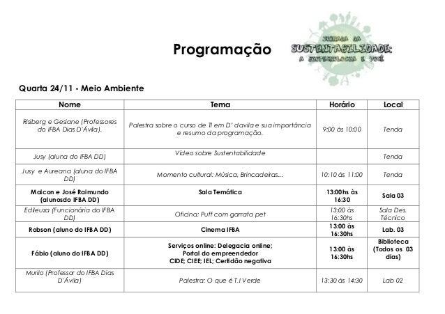 Programação Quarta 24/11 - Meio Ambiente Nome Tema Horário Local Risiberg e Gesiane (Professores do IFBA Dias D'Ávila). Pa...