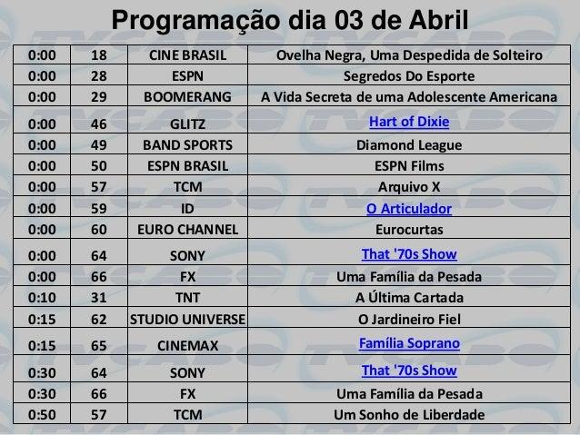 Programação dia 03 de Abril0:00   18      CINE BRASIL       Ovelha Negra, Uma Despedida de Solteiro0:00   28         ESPN ...