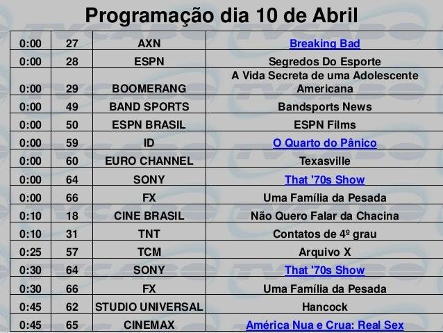 Programação dia 10 de Abril0:00   27         AXN                    Breaking Bad0:00   28        ESPN                 Segr...