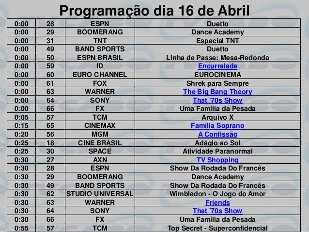 Programação dia 16 de Abril0:00   28           ESPN                     Duetto0:00   29      BOOMERANG                Danc...