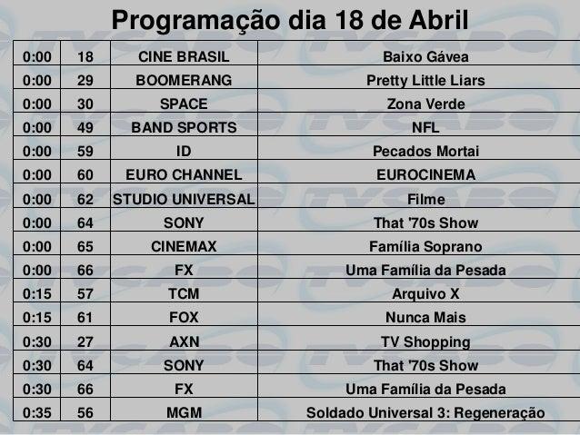 Programação dia 18 de Abril0:00   18     CINE BRASIL                Baixo Gávea0:00   29     BOOMERANG                Pret...