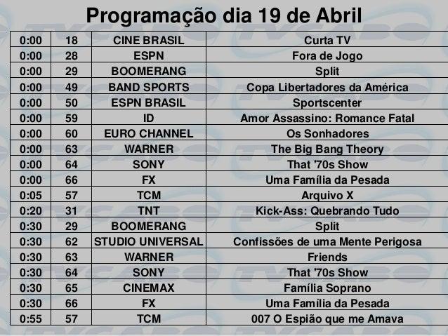 Programação dia 19 de Abril0:00   18      CINE BRASIL                  Curta TV0:00   28          ESPN                   F...