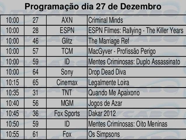 Programação dia 27 de Dezembro10:00    27      AXN       Criminal Minds10:00    28     ESPN       ESPN Filmes: Rallying - ...