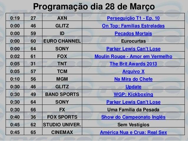 Programação dia 28 de Março0:19   27        AXN              Perseguição T1 - Ep. 100:00   46       GLITZ           On Top...