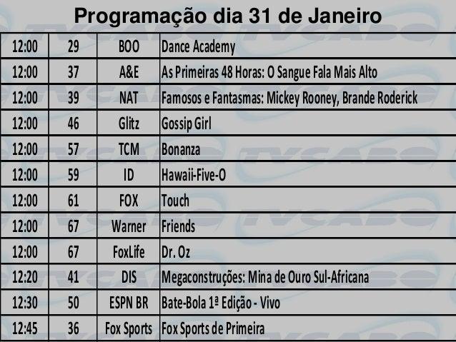 Programação dia 31 de Janeiro12:00   29      BOO       Dance Academy12:00   37      A&E       As Primeiras 48 Horas: O San...