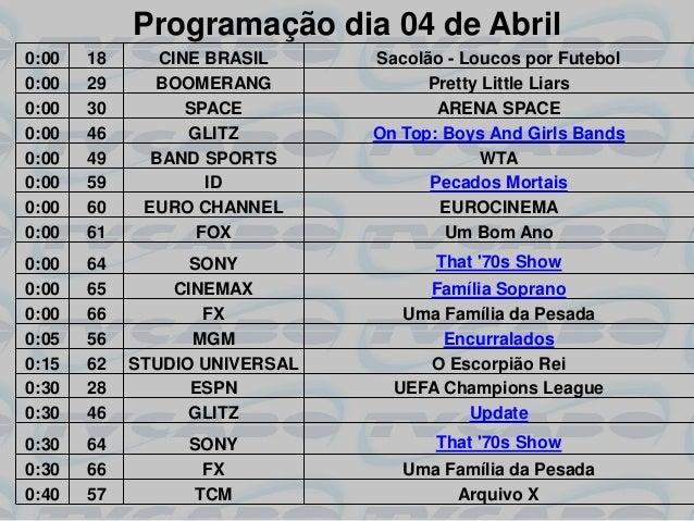 Programação dia 04 de Abril0:00   18      CINE BRASIL     Sacolão - Loucos por Futebol0:00   29     BOOMERANG             ...