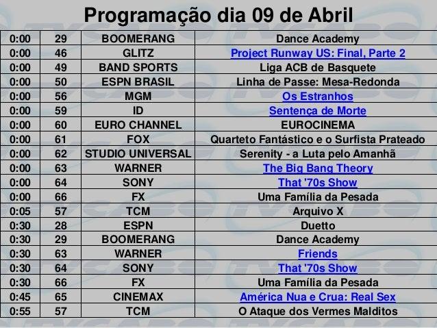 Programação dia 09 de Abril0:00   29     BOOMERANG                    Dance Academy0:00   46         GLITZ           Proje...