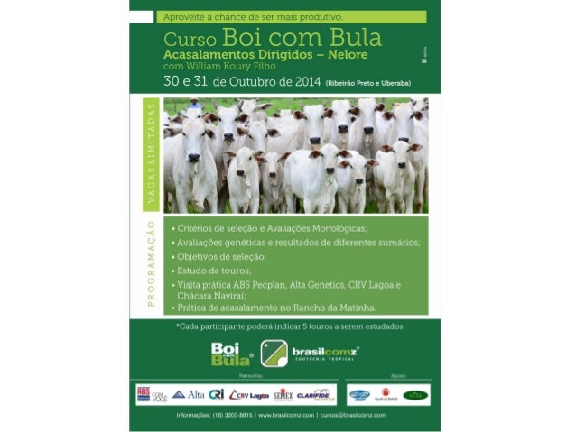 3º Curso Boi com Bula Acasalamentos Dirigidos – Nelore  Realizado em Uberaba/ Ribeirão Preto  30 e 31 de outubro de 2014  ...
