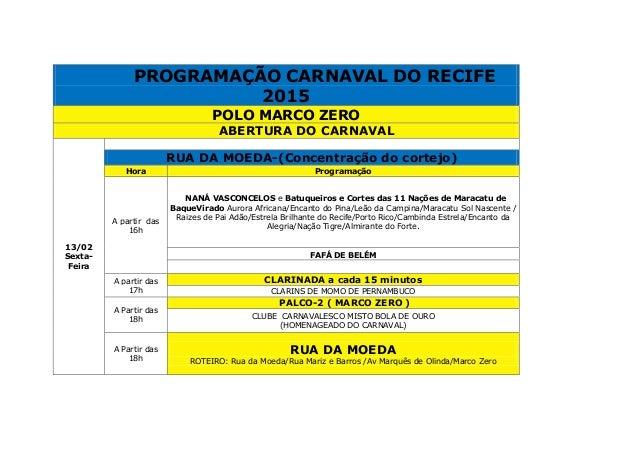 PROGRAMAÇÃO CARNAVAL DO RECIFE 2015 POLO MARCO ZERO ABERTURA DO CARNAVAL 13/02 Sexta- Feira RUA DA MOEDA-(Concentração do ...