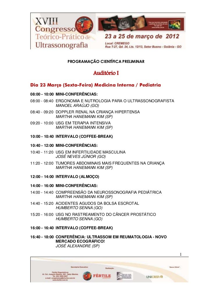 PROGRAMAÇÃO CIENTÍFICA PRELIMINAR                             Auditório IDia 23 Março (Sexta-Feira) Medicina Interna / Ped...