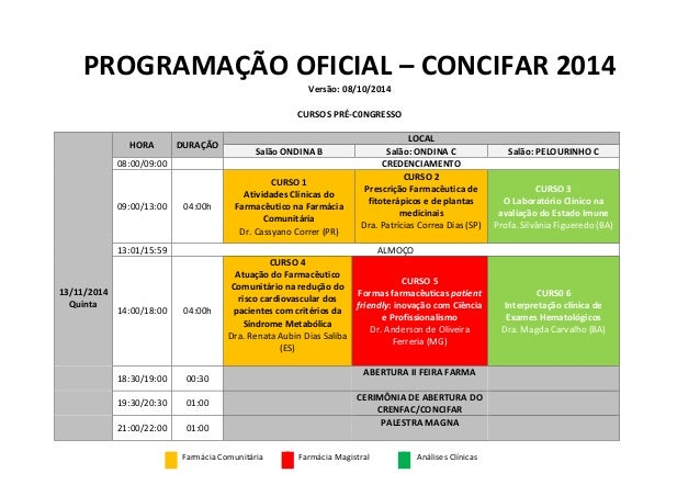 PROGRAMAÇÃO OFICIAL – CONCIFAR 2014 Versão: 08/10/2014 CURSOS PRÉ-C0NGRESSO 13/11/2014 Quinta HORA DURAÇÃO LOCAL Salão OND...