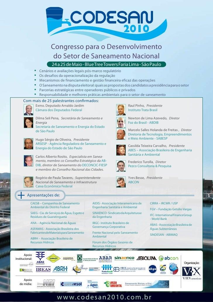 Congresso para o Desenvolvimento                             do Setor de Saneamento Nacional                             2...