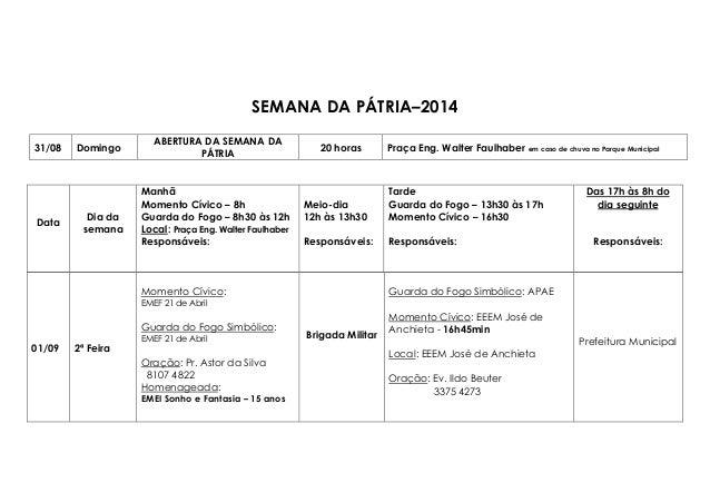 SEMANA DA PÁTRIA–2014  31/08 Domingo  ABERTURA DA SEMANA DA  PÁTRIA  20 horas Praça Eng. Walter Faulhaber em caso de chuva...