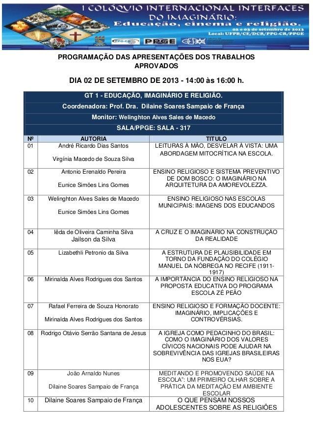 PROGRAMAÇÃO DAS APRESENTAÇÕES DOS TRABALHOS APROVADOS DIA 02 DE SETEMBRO DE 2013 - 14:00 às 16:00 h. GT 1 - EDUCAÇÃO, IMAG...