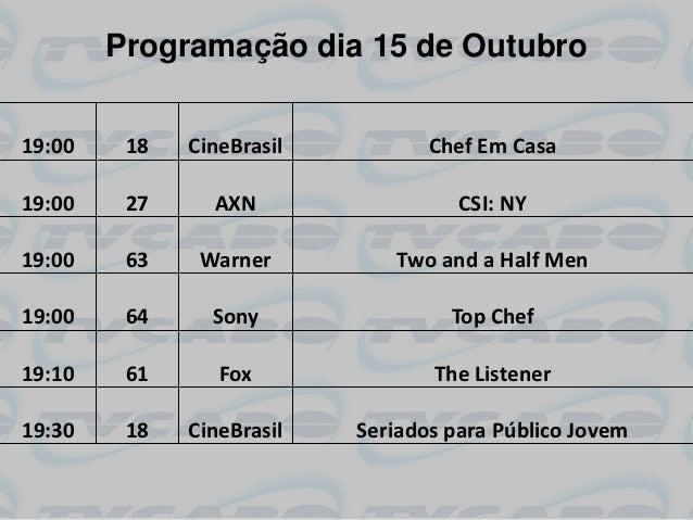Programação dia 15 de Outubro19:00    18   CineBrasil          Chef Em Casa19:00    27     AXN                  CSI: NY19:...