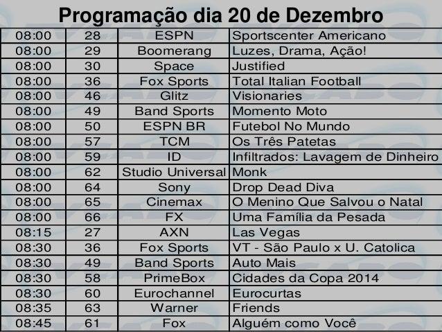 Programação dia 20 de Dezembro08:00     28        ESPN          Sportscenter Americano08:00     29     Boomerang        Lu...