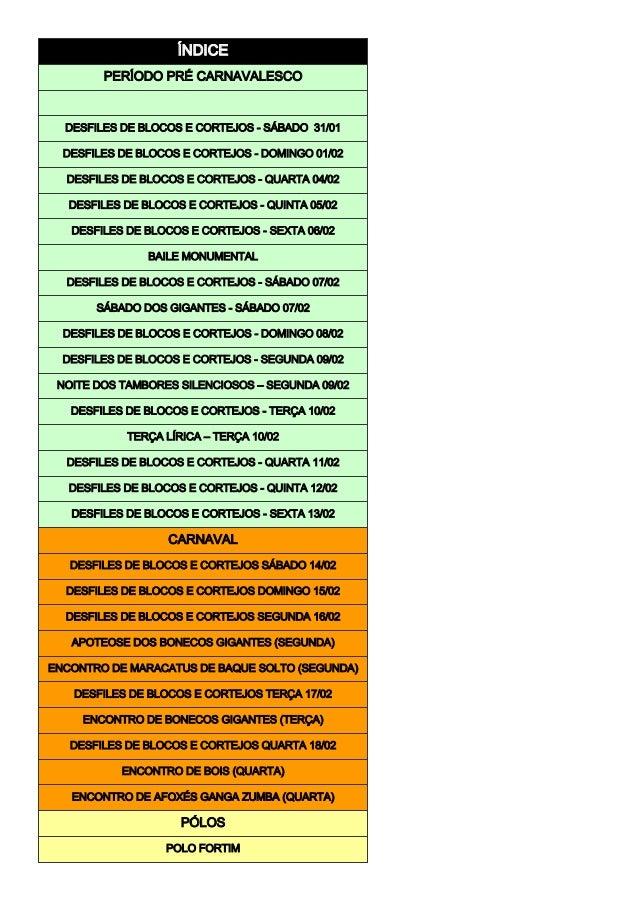 ÍNDICE PERÍODO PRÉ CARNAVALESCO DESFILES DE BLOCOS E CORTEJOS - SÁBADO 31/01 DESFILES DE BLOCOS E CORTEJOS - DOMINGO 01/02...