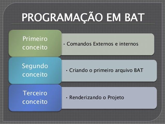PROGRAMAÇÃO EM BAT • Comandos Externos e internos Primeiro conceito • Criando o primeiro arquivo BAT Segundo conceito • Re...