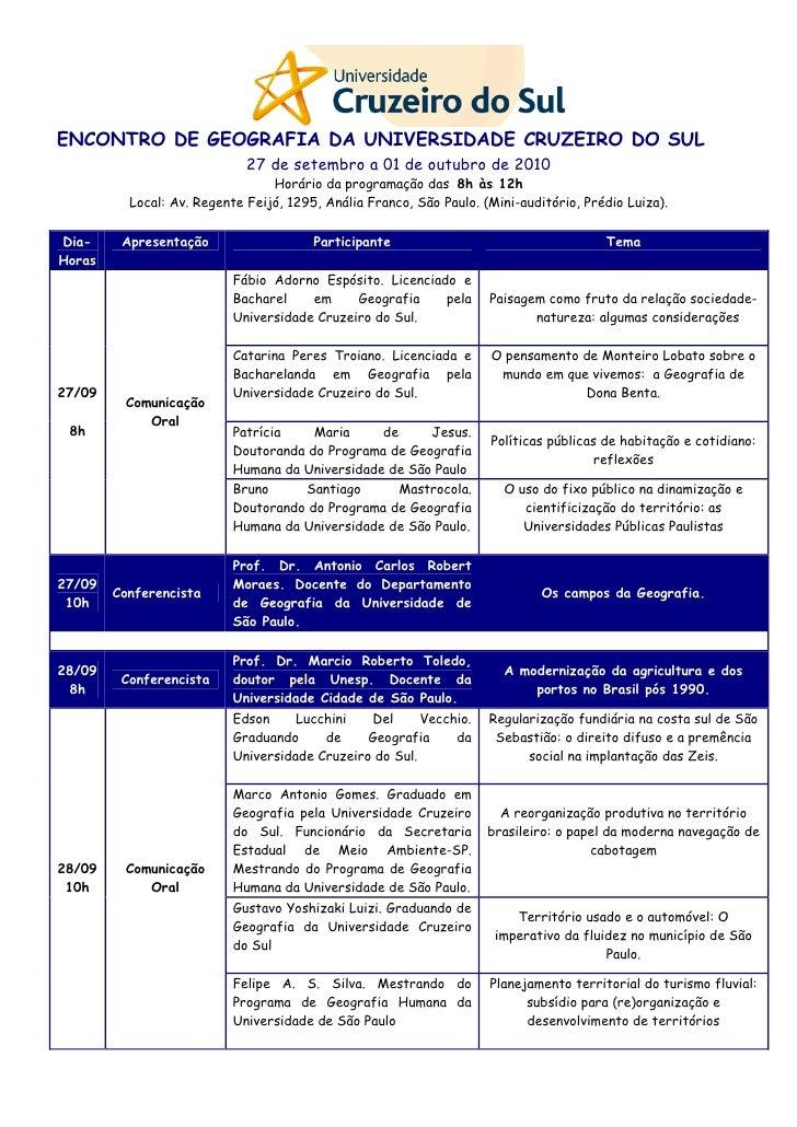 ENCONTRO DE GEOGRAFIA DA UNIVERSIDADE CRUZEIRO DO SUL                              27 de setembro a 01 de outubro de 2010 ...