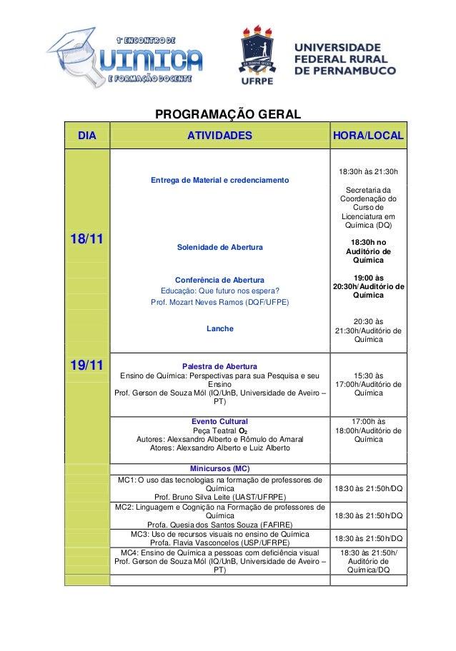 PROGRAMAÇÃO GERAL DIA  ATIVIDADES  HORA/LOCAL  18:30h às 21:30h Entrega de Material e credenciamento Secretaria da Coorden...