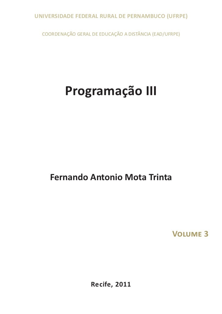 UNIVERSIDADE FEDERAL RURAL DE PERNAMBUCO (UFRPE)  COORDENAÇÃO GERAL DE EDUCAÇÃO A DISTÂNCIA (EAD/UFRPE)          Programaç...