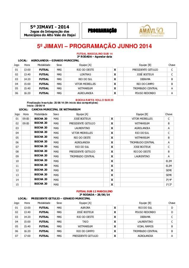 5º JIMAVI - 2014 Jogos de Integração dos Municípios do Alto Vale do Itajaí PROGRAMAÇÃO 5º JIMAVI – PROGRAMAÇÃO JUNHO 2014 ...
