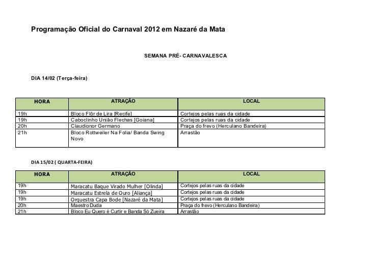 Programação oficial do carnaval 2012 em nazaré da mata para enviar