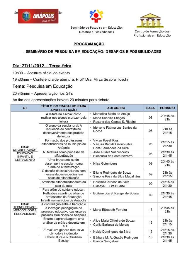 Secretaria Municipal de Educação                                       Seminário de Pesquisa em Educação:                 ...