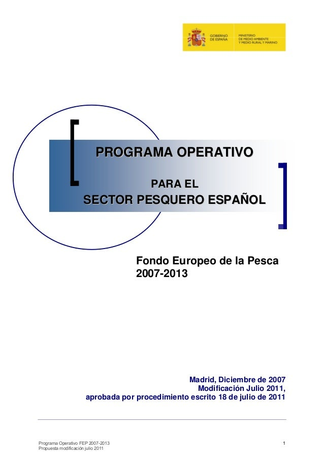 PROGRAMA OPERATIVO                                      PARA EL                    SECTOR PESQUERO ESPAÑOL                ...