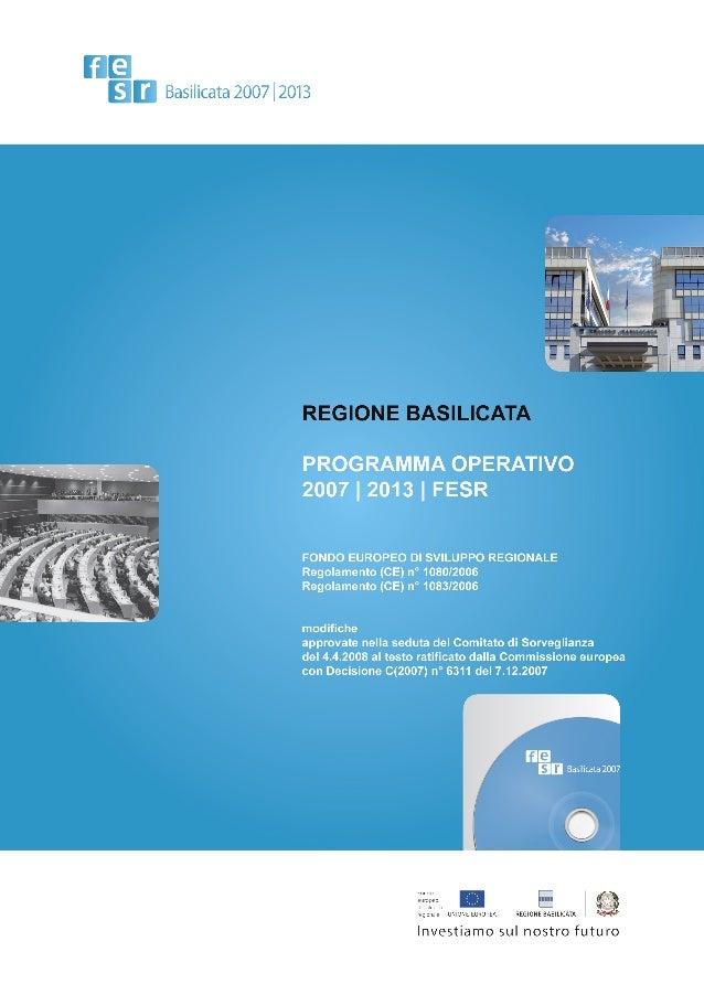 Programma Operativo Basilicata FESR 2007-2013 - Indice____________________________________________________________________...