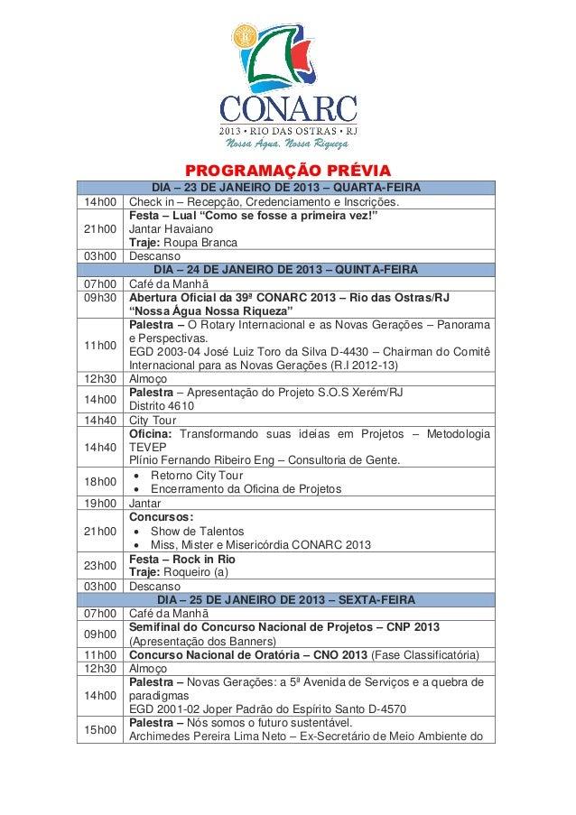 PROGRAMAÇÃO PRÉVIA             DIA – 23 DE JANEIRO DE 2013 – QUARTA-FEIRA14h00   Check in – Recepção, Credenciamento e Ins...