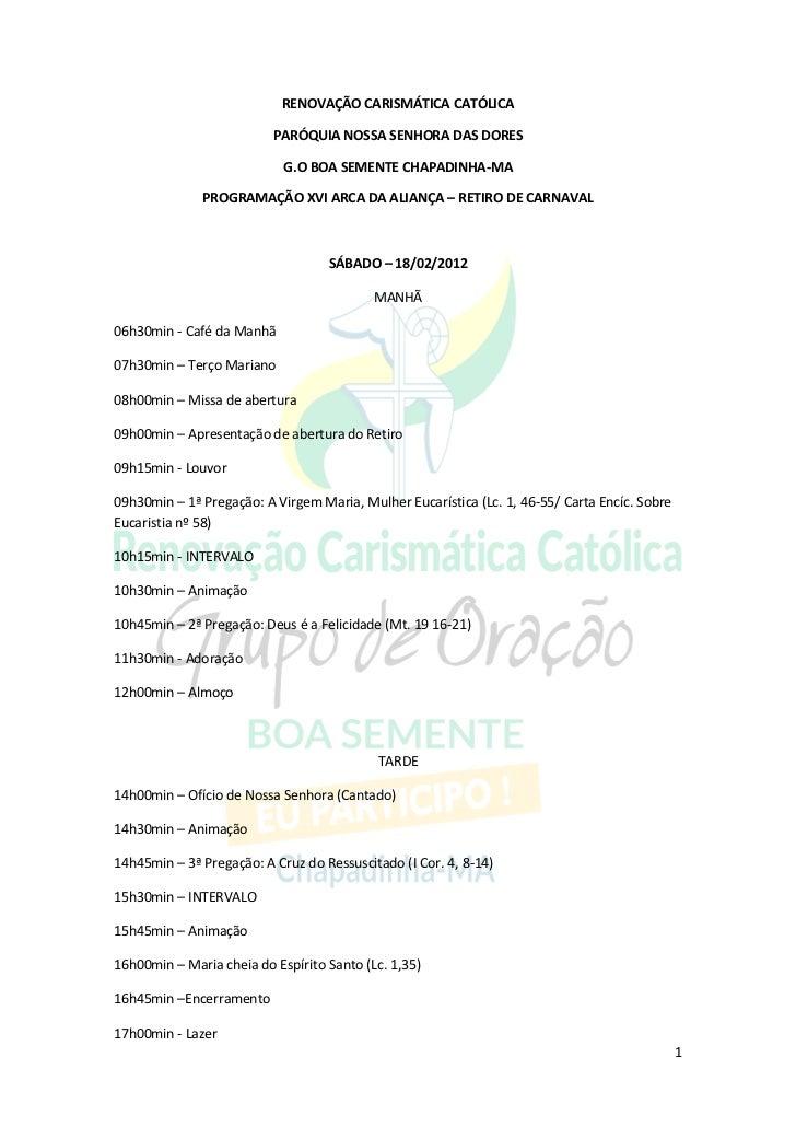 RENOVAÇÃO CARISMÁTICA CATÓLICA                          PARÓQUIA NOSSA SENHORA DAS DORES                            G.O BO...