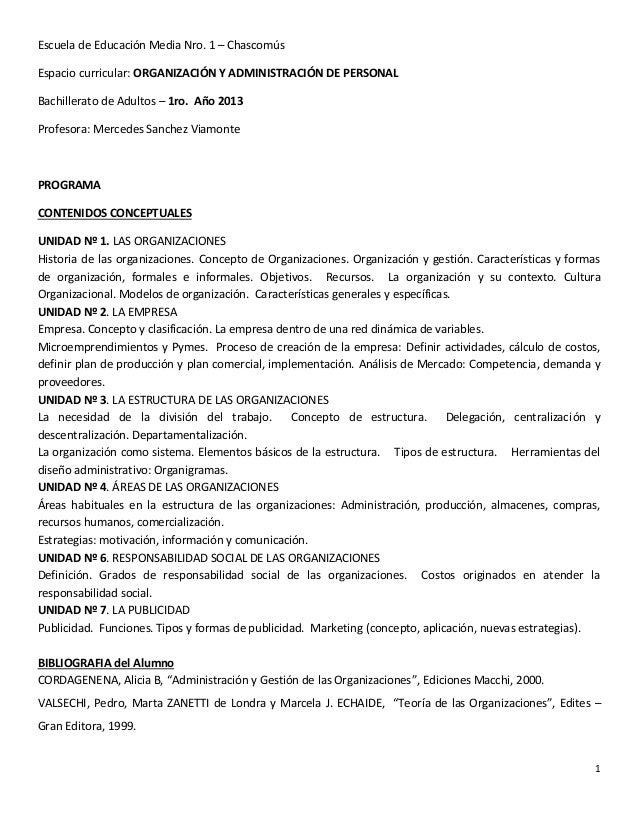 Escuela de Educación Media Nro. 1 – ChascomúsEspacio curricular: ORGANIZACIÓN Y ADMINISTRACIÓN DE PERSONALBachillerato de ...
