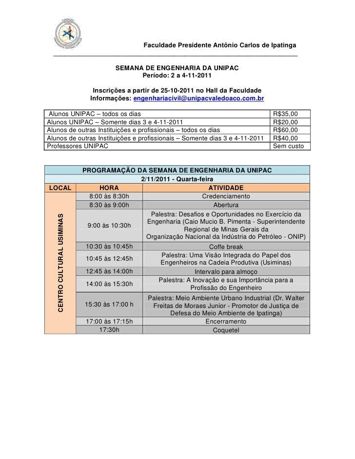 Faculdade Presidente Antônio Carlos de Ipatinga  ___________________________________________________________________      ...