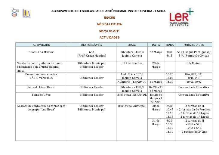 AGRUPAMENTO DE ESCOLAS PADRE ANTÓNIO MARTINS DE OLIVEIRA – LAGOA                                                          ...