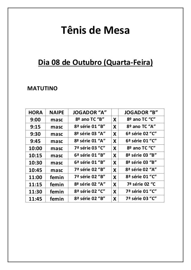 """Tênis de Mesa  Dia 08 de Outubro (Quarta-Feira)  MATUTINO  HORA  NAIPE  JOGADOR """"A""""  JOGADOR """"B""""  9:00  masc  8º ano TC """"B..."""