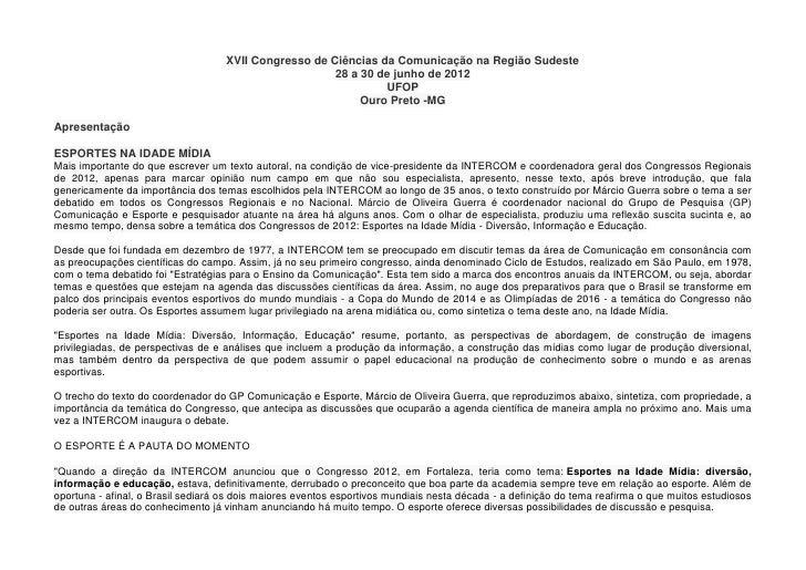 XVII Congresso de Ciências da Comunicação na Região Sudeste                                                       28 a 30 ...