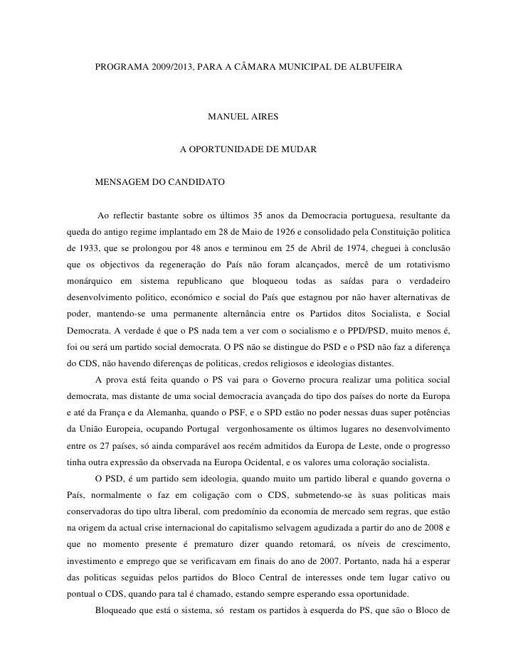 PROGRAMA 2009/2013, PARA A CÂMARA MUNICIPAL DE ALBUFEIRA                                          MANUEL AIRES            ...
