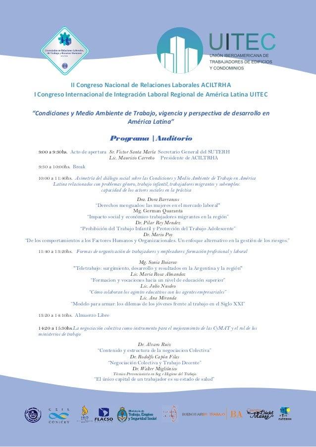 II Congreso Nacional de Relaciones Laborales ACILTRHA        I Congreso Internacional de Integración Laboral Regional de A...