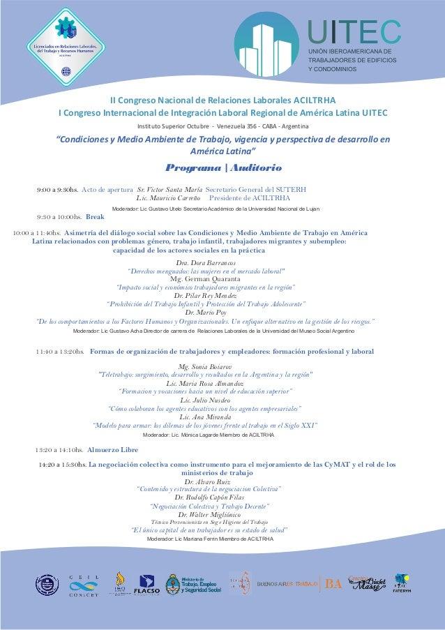 II Congreso Nacional de Relaciones Laborales ACILTRHA                   I Congreso Internacional de Integración Laboral Re...