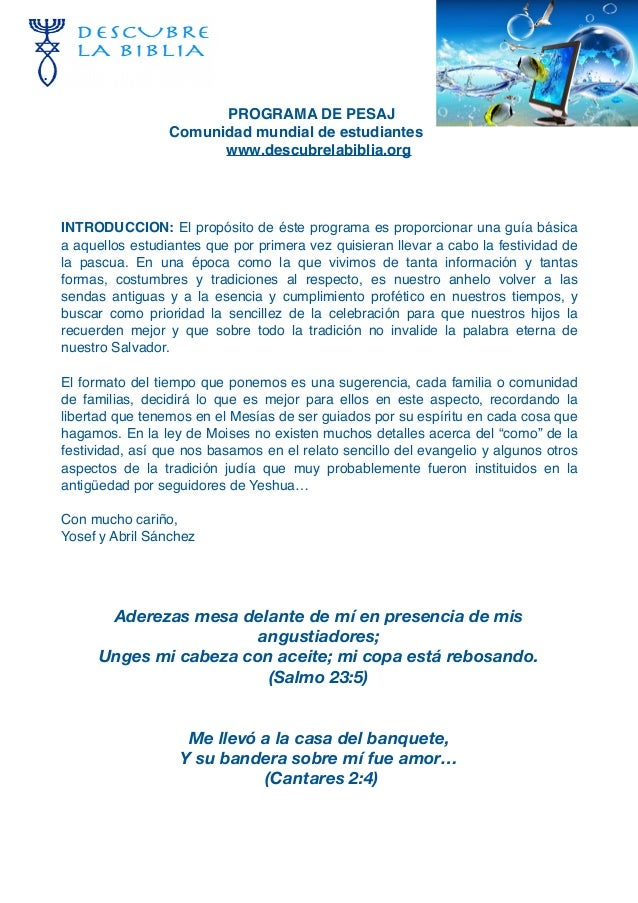 PROGRAMA DE PESAJ Comunidad mundial de estudiantes www.descubrelabiblia.org INTRODUCCION: El propósito de éste programa es...