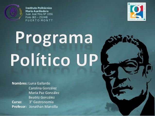 Instituto Politécnico María Auxiliadora Juan José Mira Nº 1056 Fono 065 – 252440 PUERTO MONTT  Nombres: Luna Gallardo Caro...