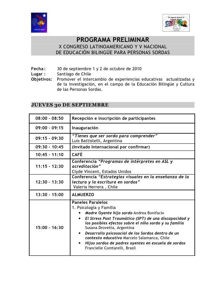PROGRAMA PRELIMINAR               X CONGRESO LATINOAMERICANO Y V NACIONAL              DE EDUCACIÓN BILINGÜE PARA PERSONAS...