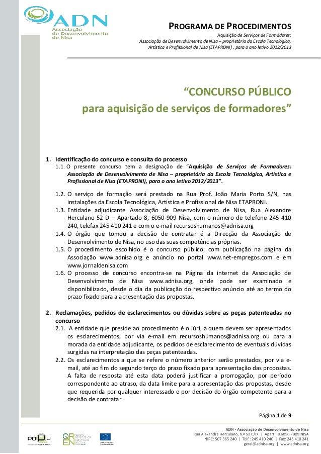 PROGRAMA DE PROCEDIMENTOS                                                                            Aquisição de Serviços...