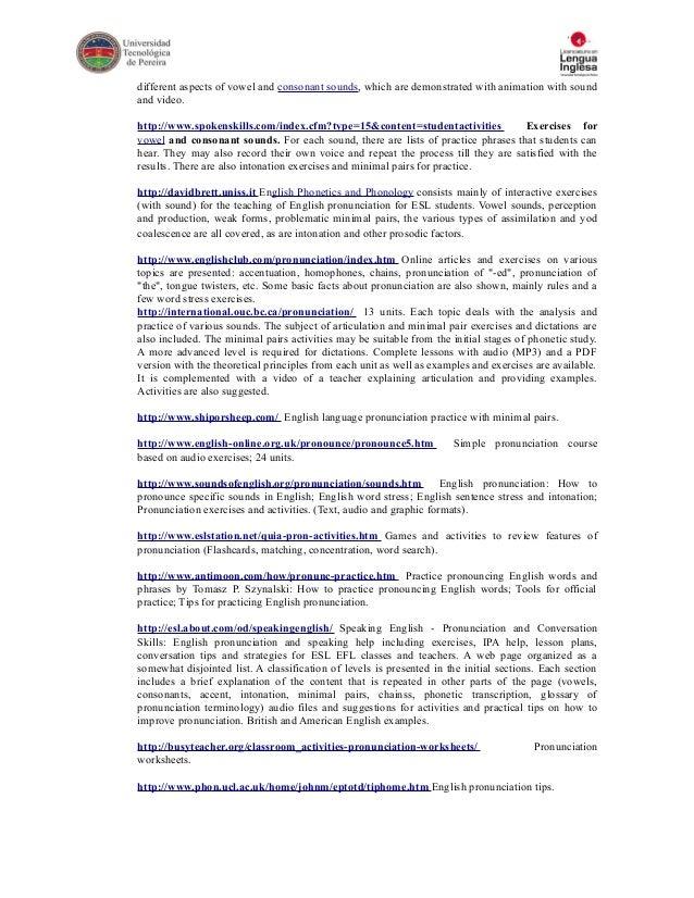 PRONUNCIATION II SYLLABUS – Pronunciation Worksheets