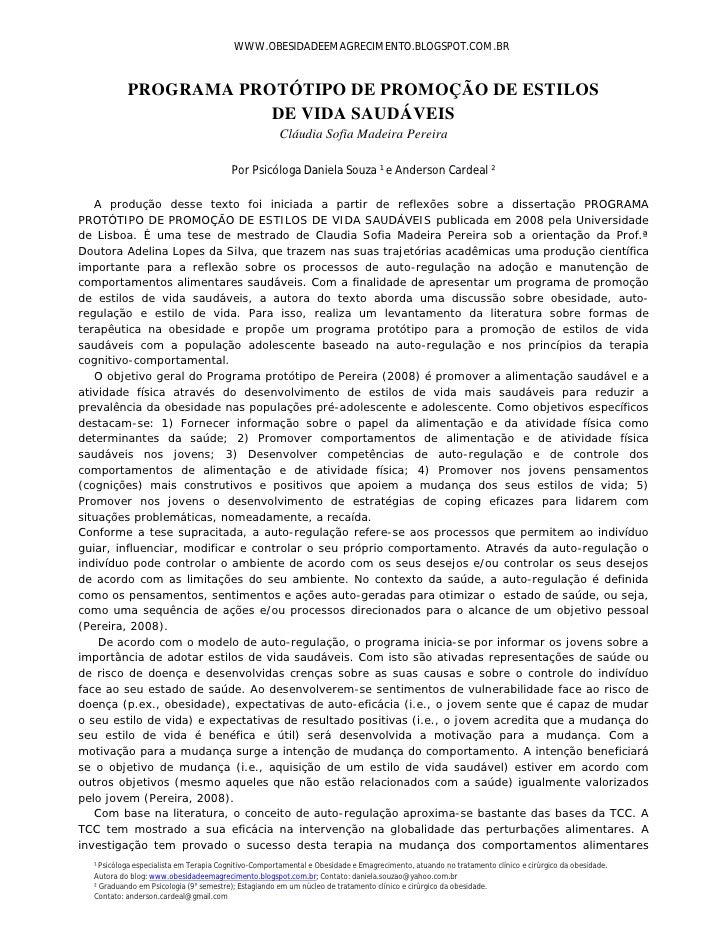 WWW.OBESIDADEEMAGRECIMENTO.BLOGSPOT.COM.BR           PROGRAMA PROTÓTIPO DE PROMOÇÃO DE ESTILOS                       DE VI...